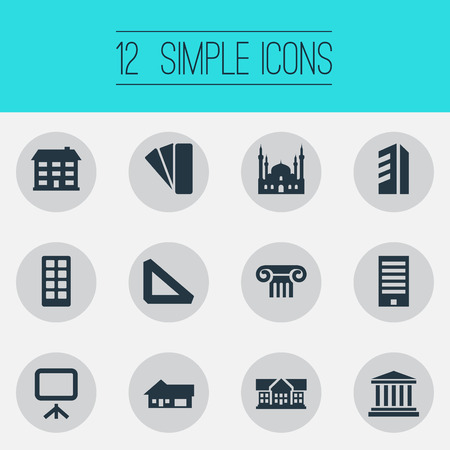 Vector Illustration Set Of Simple Architecture Icons. Elements Farm, Islamic Monument, Whiteboard And Other Synonyms Measure, Design And Ancient.
