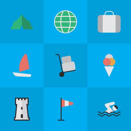 Vectorillustratiereeks Eenvoudige Vakantiepictogrammen. Elements Pool, World, Bag And Other Synoniemen Reis, zeilboot en lading. Stock Illustratie