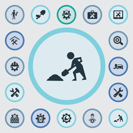 Vector Illustration Set Of Simple Mending Icons. Elements Construction, Builder, Option And Other Synonyms Brigade, Services And Digger. 向量圖像
