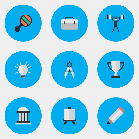 Vector Illustration Set Of Simple Knowledge Icons. Elements Racket, Pen, University And Other Synonyms Lifter, Board And Weight.