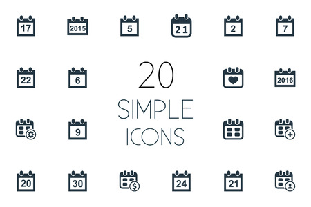 Vector Illustration Set Of Simple Plan Icons. Elements Addition, Twenty-One, Seventeen And Other Synonyms Twentieth, Organizer And Event.