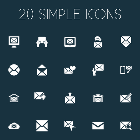 Vector Illustration Set Of Simple Communication Icons. Elements Writing, News, Mail With Heart And Other Synonyms Letter, Defended And Open.