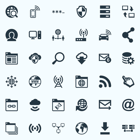 Vector Illustration Set Of Simple Web Icons. Elements Publish, Link, Processing And Other Synonyms Planet, Protected And Spreading. Illustration