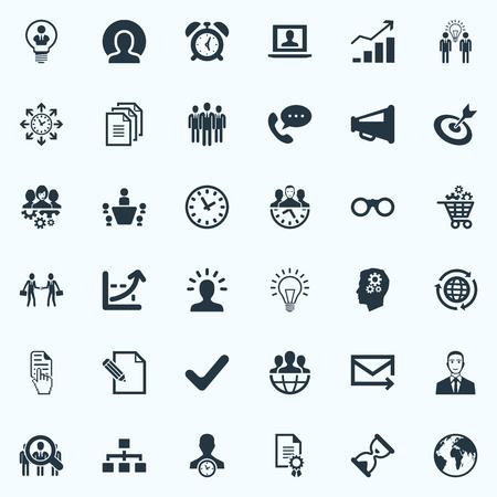 Ilustración vectorial Conjunto de iconos de plan simple. Elementos realizados, reloj, plan de negocios y otros sinónimos Cursor, crecimiento y acuerdo. Foto de archivo - 85338006
