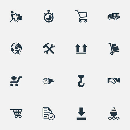 Vector Illustration Set Of Simple Logistics Icons. Elements Countdown, Bottom Side, Flying And Other Synonyms List, Arrow And Faster.