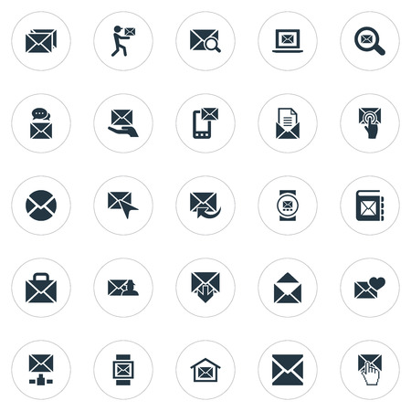 Vector Illustration Set Of Simple Communication Icons. Elements Entering, Pages, Inbox And Other Synonyms Notification, Quest And Sms. Ilustração