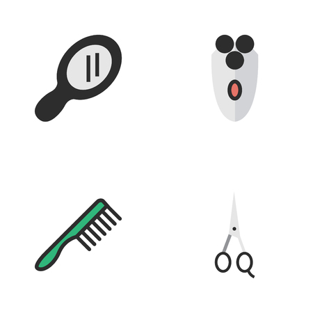 Vector Illustration Set Of Simple Shop Icons. Elements Shaving Machine, Scissors, Hairbrush And Other Synonyms Tool, Glass And Scissors.