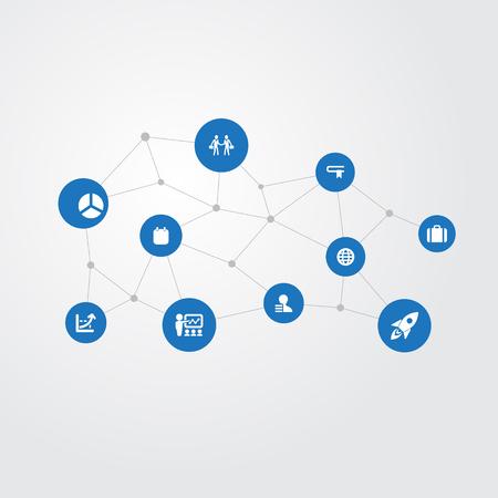 벡터 일러스트 레이 션 간단한 솔루션 아이콘의 집합입니다. 요소 가방, 증가 그래프, 교육 및 기타 동의어 정보, 갤럭시 및 증가합니다. 일러스트
