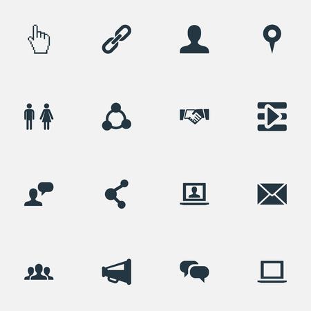 벡터 일러스트 레이 션 간단한 사회 아이콘의 집합입니다. 요소 커서, 포인트, 확성기 및 다른 동의어 포인터, 인터넷 및 성입니다.