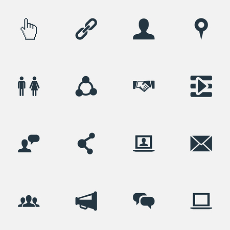 Vector Illustration Set Of Simple Social Icons. Elements Cursor, Point, Megaphone And Other Synonyms Pointer, Internet And Gender. Çizim