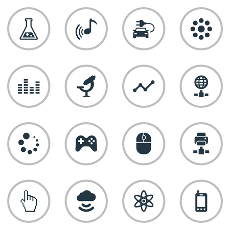 Vector Illustration Set Of Simple Gadget Icons. Elements Joystick, Loading, Increase And Other Synonyms Diagram, Science And Graph. Иллюстрация