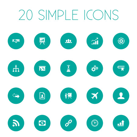 Vector Illustration Set Of Simple Solution Icons. Elements Presentation, Demonstration, Strength And Other Synonyms Seminar, Increase And Wi.