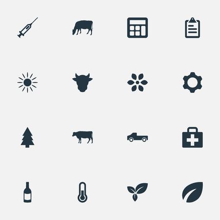 벡터 일러스트 레이 션 간단한 농업 아이콘의 집합입니다. 요소 가축, 계산기, 엔진 및 기타 동의어 트리, 온도계 및 가축. 일러스트