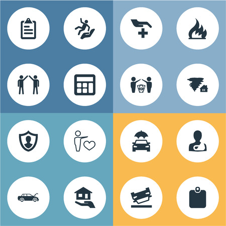 Vector Illustration Set Of Simple Fuse Icons. Elements Job Accord, Broken Arm, Ignition And Other Synonyms Wreck, Weather And Man.
