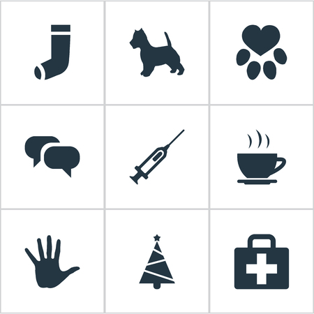 Vector Illustration Set Of Simple House Icons. Elements Footprint, Hot Drink, Hosiery And Other Synonyms Coffee, Case And Holiday.