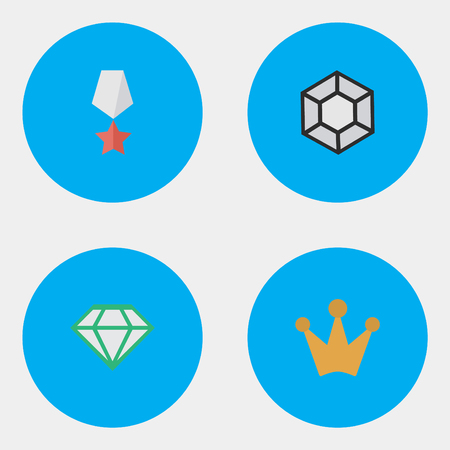 Vector Illustration Set Of Simple Awards Icons. Elements Brilliant, Gemstone, Premium And Other Synonyms Stone, Brilliant And Corona.