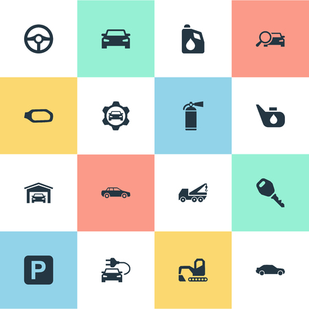 Vector Illustration Set Of Simple Automobile Icons. Elements Hoisting Machine, Road Sign, Lock And Other Synonyms Lock, Fuel And Spare. Banco de Imagens - 85338088