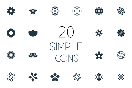 Vector Illustration Set Of Simple  Icons. Elements Stock, Blossoming, Ranunculus And Other Synonyms Marguerite, Laurel And Orchids.
