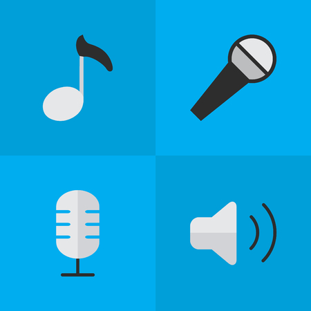 Vector Illustration Set Of Simple Melody Icons. Elements Note, Loudness, Mike And Other Synonyms Amplifier, Mike And Volume.