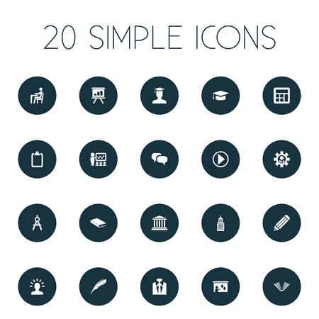 Vector Illustration Set Of Simple Seminar Icons. Elements Academy, List, Literature And Other Synonyms Library, Screen And Math. Illustration