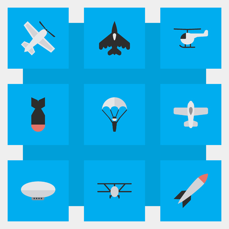 Vector Illustration Set Of Simple Airplane Icons. Elements Airplane, Craft, Bomb And Other Synonyms Copter, Chopper And Airship.