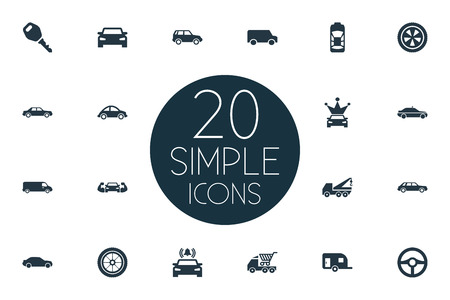 シンプルな自動アイコンのベクトルイラストセット。要素トラック輸送、ライド、トラフィックや他の同義語カメ、コロナやカート。