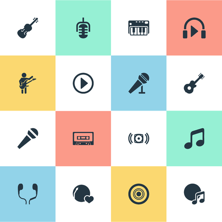 Vector Illustration Set Of Simple Melody Icons. Elements Loudspeaker, Tape, Guitarist And Other Synonyms Speaker, Guitarist And Disk.