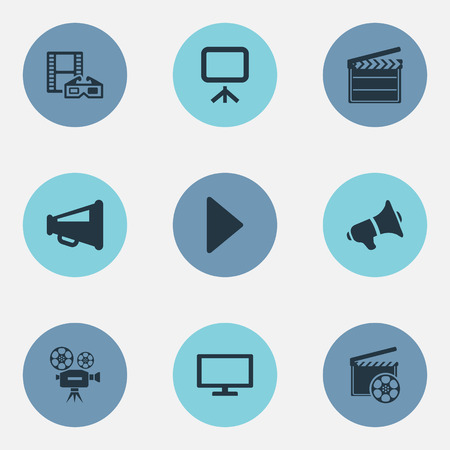Elements Begin, Production, Video Camera And Other Synonyms Loudspeaker, Start And Camcorder.  Vector Illustration Set Of Simple Movie Icons. Illustration