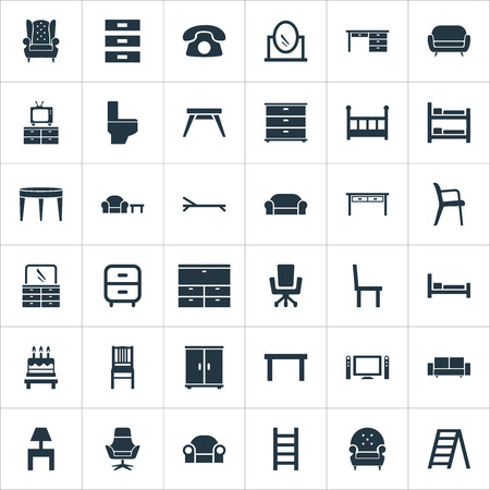 Elements Chest Drawers, Bedside Socle, Display And Other Synonyms Design, Stairway And Mattress.  Vector Illustration Set Of Simple Furniture Icons. Stock Vector - 85316822