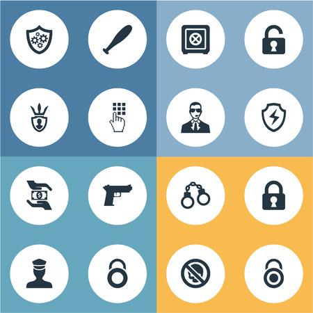 Elements Stick, Entering Password, Locker And Other Synoniemen Officer, Lock And Protection. Vector illustratie Set van eenvoudige veilige pictogrammen.