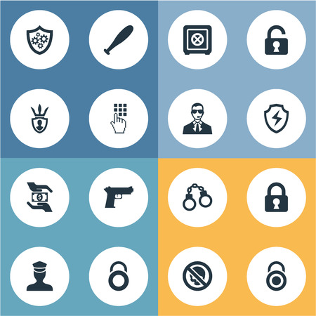 Elements Stick, Entering Password, Locker And Other Synonyms Officer, Lock And Protection.  Vector Illustration Set Of Simple Secure Icons. Illustration