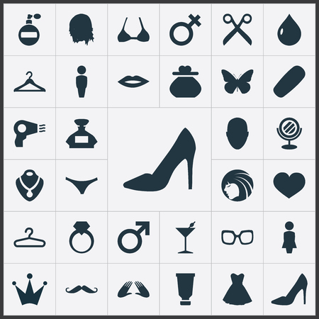 Elements Hanger, Kiss, Blowdryer And Other Synonyms Purse, Mars And Lips.  Vector Illustration Set Of Simple Beauty Icons.