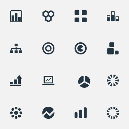 Elementen Gegevens, Test, Meerdere en Andere synoniemen Ronde, Meervoud en Honingraat. Vector illustratie Set van eenvoudige pictogrammen. Stock Illustratie