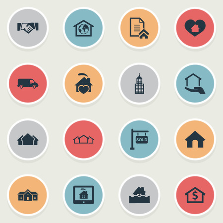 Elements Flood, Partnership, Planet And Other Synonyms Flood, Residential And Estate.  Vector Illustration Set Of Simple Real Icons. Banco de Imagens - 85316940
