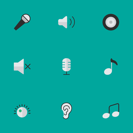 loudness: Elements Note, Microphone, Loudness And Other Synonyms Mike, Mic And Volume.  Vector Illustration Set Of Simple Melody Icons.
