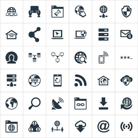 요소 출판, 안전, 가정 및 기타 동의어 탭, 행성 및 노트북. 벡터 일러스트 레이 션 간단한 인터넷 아이콘의 집합입니다.