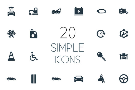 Elements Fuel, Handicapped, Accumulator Synonyms Antifreeze, Building And Van.  Vector Illustration Set Of Simple Vehicle Icons. Illustration