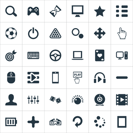 Elements Podcast, Touch Screen, Device And Other Synonyms Checklist, Equalizer And Desktop.  Vector Illustration Set Of Simple Game Icons.