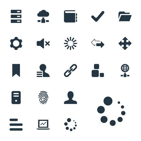 Elementen hyperlink, vlag, pijlen en andere synoniemen reverse, variëteit en globe. Vectorillustratiereeks Eenvoudige Praktijkpictogrammen. Stock Illustratie