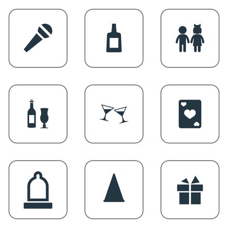 Elements Present, Rubber, Children And Other Synoniemen Dinner, Kids And Preservation. Vectorillustratiereeks Eenvoudige Banketpictogrammen.