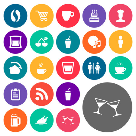 pareja comiendo: Elements Smoothie, Wireless Connection, Celebration And Other Synonyms Clipboard, Cherry And Glass.  Vector Illustration Set Of Simple Restaurant Icons. Vectores