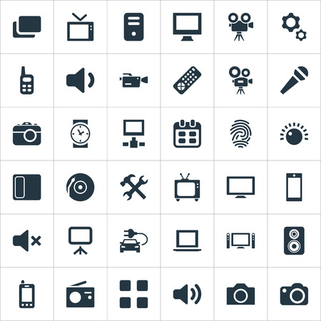 Elements Call, Volume, Camcorder And Other Synonyms Data, Computer And Document.  Vector Illustration Set Of Simple Gadget Icons.