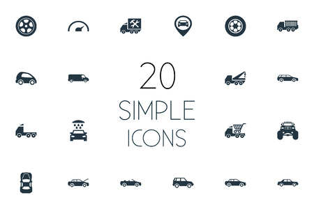 Elements Repairing Service, 4X4, Speed And Other Synonyms Pumping, Location And Cabriolet.  Vector Illustration Set Of Simple Auto Icons. 向量圖像