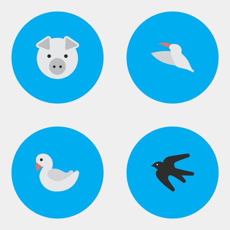 Elements Crane, Sparrow, Swan And Other Synonyms Swine, Crane And Stork.  Vector Illustration Set Of Simple Wild Icons. Illustration