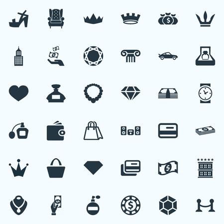 Elementen krediet, Satchel, Chip en andere synoniemen portemonnee, winkelen en hotel. Vector illustratie Set van eenvoudige mode-iconen.