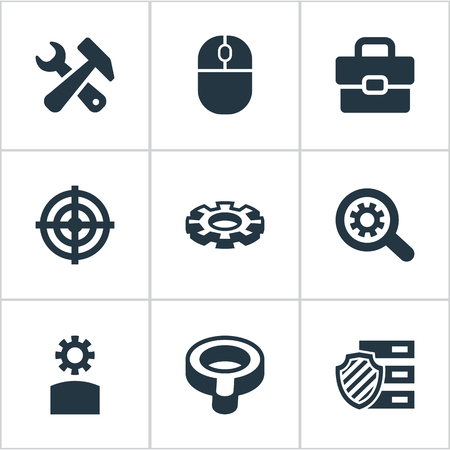 Elements Suitcase, Tools, Mouse And Other Synonyms Sniper, Magnifier And Inlet.  Vector Illustration Set Of Simple SEO Icons. Illustration