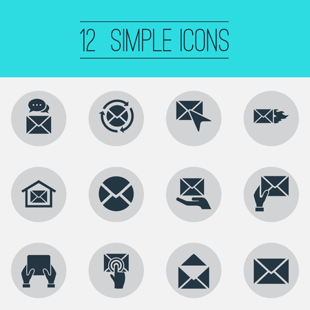 Elements Smartphone, Receiver, Cursor And Other Synonyms Blank, Address And Symbol.  Vector Illustration Set Of Simple Mail Icons.