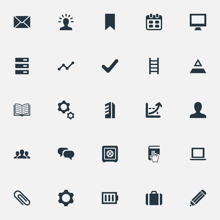 Elements Battery, Fastener Paper, Triangle And Other Synonyms Stairway, Building And Analytic.  Vector Illustration Set Of Simple Startup Icons.