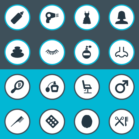 Elements Mascara, Hairstyle, Smell And Other Synonyms Male, Dress And Aroma.  Vector Illustration Set Of Simple Cosmetics Icons.