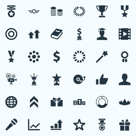 Elements Graph, Okay, Loading And Other Synonyms Laurel, Favorite And Platform.  Vector Illustration Set Of Simple Champ Icons.